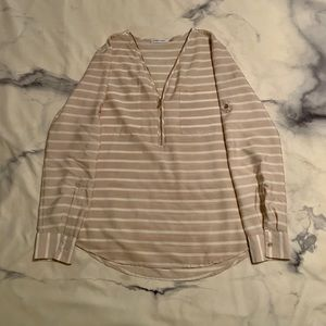 Calvin Klein Striped Blouse with Gold Detailing